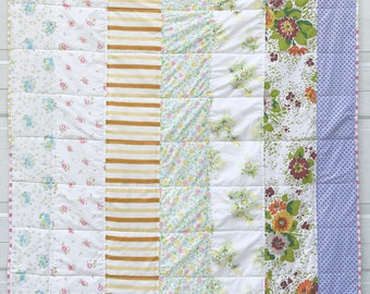 Funky Vintage {LARGE} Floral Lap Blanket/ Baby Blanket With Vintage Sheets and Scrappy Quilt Binding