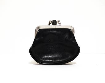 Vintage Double Sided Coin Purse Black Leather 1960s