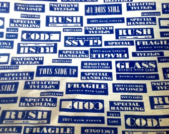 Vintage 70s jersey fabric mailing labels postage correspondence print 1 yard