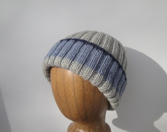 Warm Wool Hat, Hand Knit Beanie, Gray with Blue Stripes, Watch Cap, Teens Women Adults, Stretchy Fit Cap