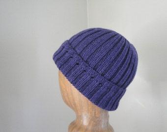 Women's Knit Hat, Dark Purple, Pure Wool, Watch Cap Beanie, Teen Girls Warm Cap