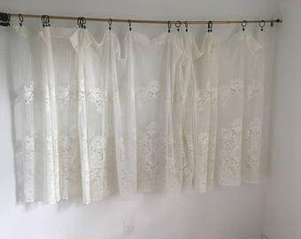 "Vintage Curtains, Cream White Lace Curtain,  Vintage Drapery, Extra Wide Curtain, 46"" long by 192"" wide"