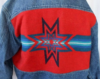Vintage Pendleton Denim Jacket Wool Back Indian High Grade Western Wear Classic
