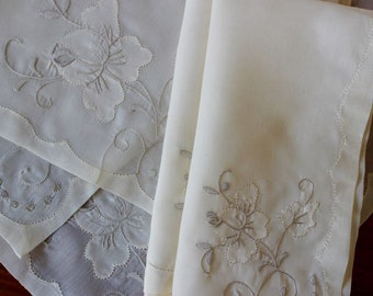 Vintage Linen Napkins Placemats Madeira 2 Dinner Table Set Organdy Floral Off White Perfect Plus