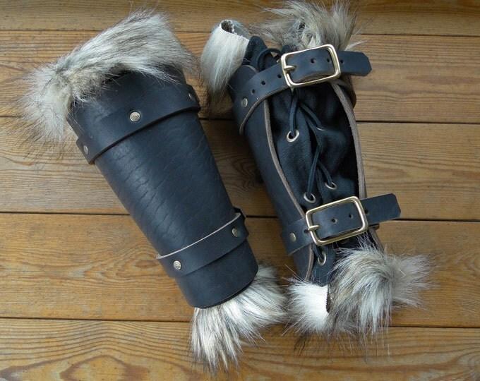 Leather & Fur Bracers - Viking Warrior - Heavy Black Leather w/ Faux Wolf Fur Trimmed Linen Underbracers