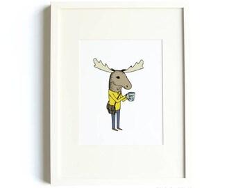 Coffee Moose Print - 8 x 10 Print by Hello Small World, Coffee Print, Moose Art, Jaunty Animals Print, Messenger Bag, Kids Room Art
