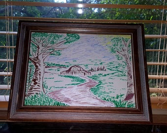 Country scene painted picture frame