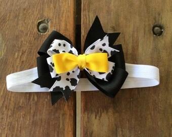Baby Headband, Cow Print Headband,
