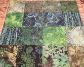 """14"""" x 14"""" Batiks Pillow COVER - 15 Mysterious Midnight Green Hawks Garden Squares Nature Themes"""