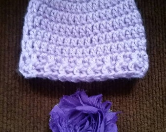 Stocking Hat,  Purple, Newborn with removable hair clip