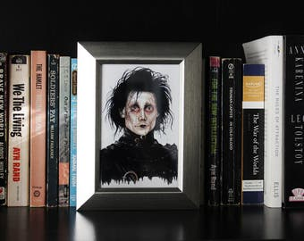 Framed Edward Scissorhands Watercolor Print