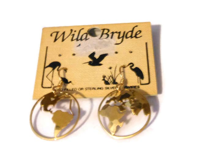 Wild Bryde earth earrings, gold plate continents, 14k plated wires, pierced french hooks, detailed etching, cutout work, world globe atlas