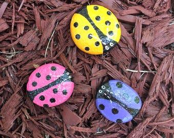 3 Little Ladybug Rocks Hand Painted Pink Blue Orange Ladybug Rocks