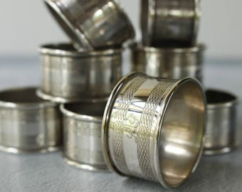 Vintage Napkin Rings With monogram LJ..or LS.Engine Turned Pattern..Set of NINE Rings.