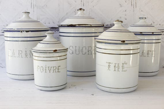 French Enamel Kitchen Cannisters..White and Blue..Set of Five.......Nordic Home....Shabby Chic
