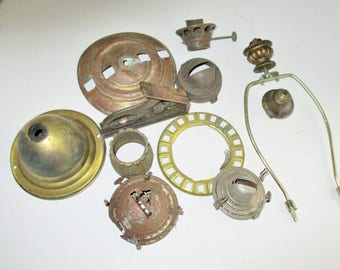 Vintage Lamp Parts Salvaged Lamp Findings 11 Pieces Brass Metal Industrial Assemblage