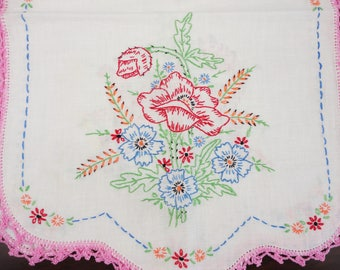 Brightly Embroidered Linen Runner 13 x 37 inches  FLOWERS