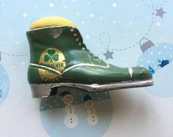 Antique Metal Shoe Boot Pincushion Souvenir of Eire
