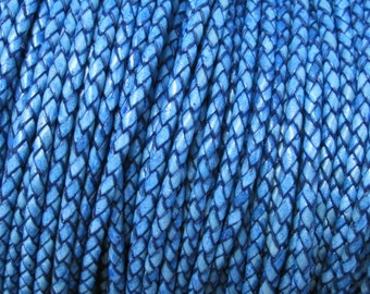 Braided Leather Bolo Cord Natural Western Blue 3 MM 2 Yard Sale Gorgeous Color