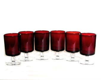 Ruby Red Arcoroc Luminarc Cordial Glass Set of Six Stemmed Cristal d' Arques Cavelier Made in France Vintage Barware