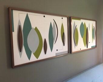 Mid Century Modern Witco Abstract Wall Art Sculpture Painting Retro Eames Era - Sonoma II