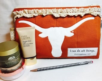 Texas Longhorn t-shirt cosmetic bag -pencil bag -scripture bag - make up bag - birthday gift - toiletry -travel- burnt orange- austin tx