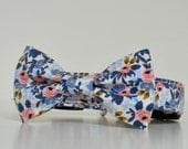 Floral Pink Blue Bow Tie Dog Collar Le Fleur Easter Collar Wedding Accessories Made to Order