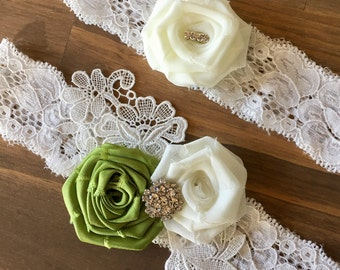 Wedding garter set/Green garter set/Vintage wedding/Ivory garter set/Garter/Lace Garter set/Bridal garter set/Garter/