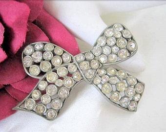 Rhinestone Bow Pin - Art Deco Style - Pot Metal Setting Pin