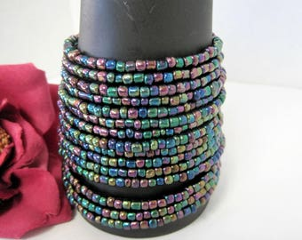 Glass Bead Wire Bracelet - Mod  Iridescent Wrap Bracelet - Purple Green Memory Wire - 15 rows of Wired Beads
