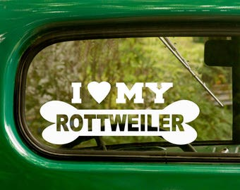 2 I LOVE MY ROTTWEILER Decals Dog Bone Sticker For Car Laptop Truck Jeep Rv Bumper Window