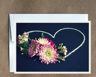 Chalkboard Floral Heart Notecard Blank Greeting Card Any Occasion