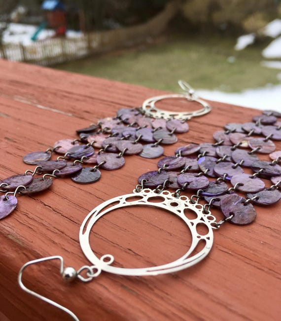 Purple Mussel Shell Chandelier Earrings