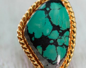 Silver/Gold & Turquoise Ring