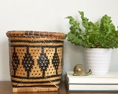 Vintage Woven Rattan Basket Black Honey Hand Woven  Boho Chic
