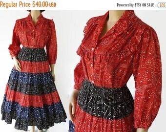 40%OFFSALE Rockabilly Dress, Carefree Fashions Skirt, Blouse, Bandana Print, Patio Squaw Dress