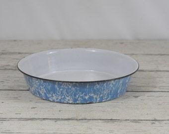 "Vintage Enamel Graniteware Blue and White Swirl Wash Bowl 11"""