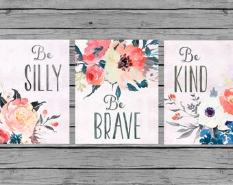 Nursery Wall Art Nursery Art Baby girl Nursery Decor coral navy gray floral Nursery Set of 3 prints Nursery bouquet watercolor girls room