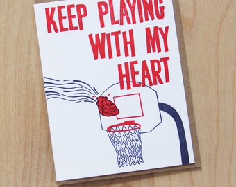 Keep playing with my heart, letterpress greeting card