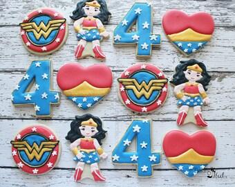 Wonder Woman Inspired Cookies, Wonder Woman Birthday Party Favors, Superhero Cookies, Girls Birthday Party, WW Comic Inspired Cookies