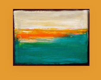 "Art Painting on Canvas Original Acrylic Abstract Art On Canvas by Ora Birenbaum Titled: Tropical 30x40x1.5"""