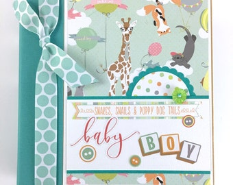 Baby Boy Scrapbook Mini Album Kit or Premade Newborn Shower Gift