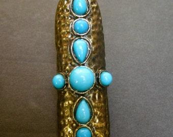 Unique Blue Stone Elongated Ring Size 7.5