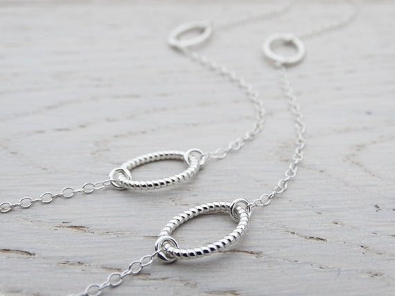 Long Silver Necklace With Twisted Oval Links - Sterling Silver