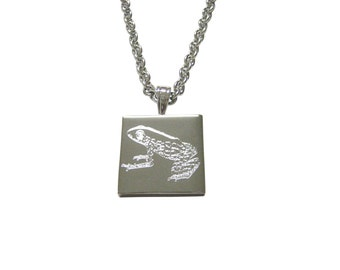 Silver Toned Etched Tropical Frog Pendant Necklace