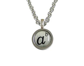Bordered Mathematical A to the Power of B Pendant Necklace