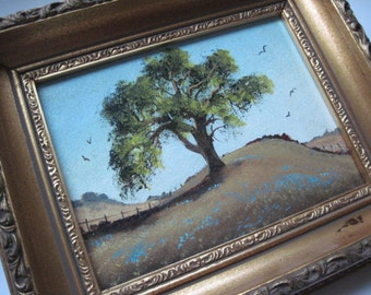 Vintage Gold Framed Lone Oak Tree Painting