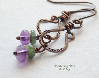 Amethyst and Tourmaline Earrings, Green and Purple Gemstone on Unique Dangle Artisan Copper Jewelry for Fall