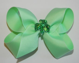 Sequin Shamrock Large Mint Hair Bow - St Patrick's Day Hair Bow, Shamrock Hair Bow, Irish Bow, St Pat's Hair Bow, Shamrock, Green Hair Bow