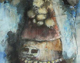"""Original raw expression contemporary art brut Mixed Media Painting on paper-""""Bemused Tenants"""""""